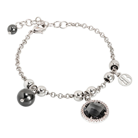 Related product : Bracciale con perle Swarovski black e cristallo smoky quartz