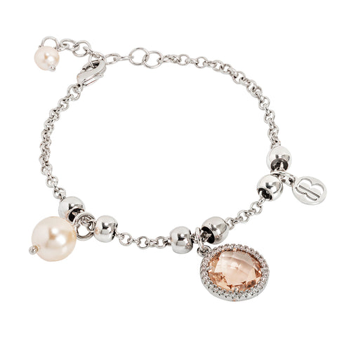 Related product : Bracciale con perle Swarovski e cristallo peach