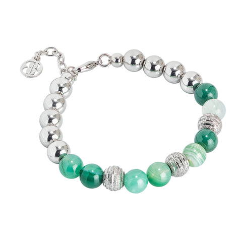 Bracciale rodiato con agata mix green