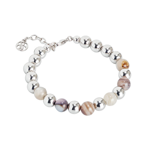 Bracciale rodiato con sfere lisce e agata mix brown