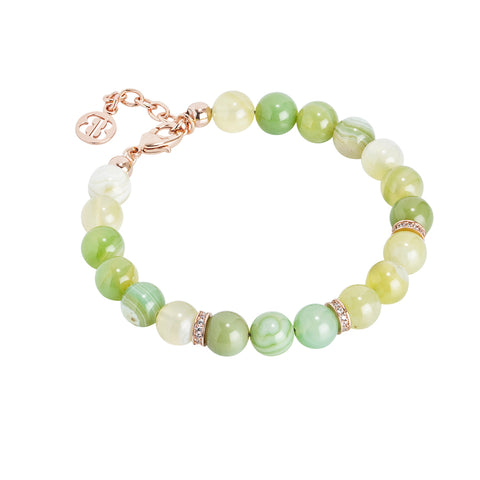 Bracciale rosato con agata light yellow e zirconi