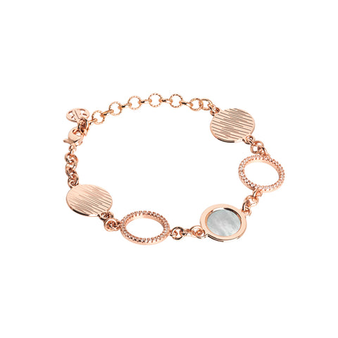 Related product : Bracciale rosato con moduli in madreperla e zirconi