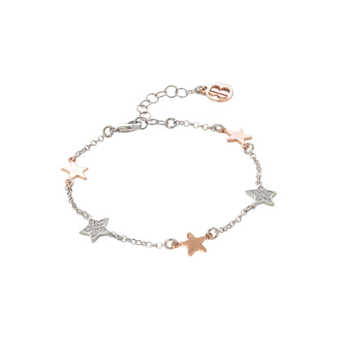 Related product : Bracciale bicolor con stelline passanti lisce e zirconate