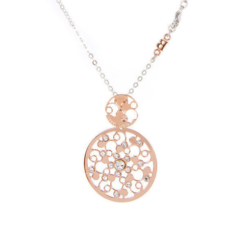 Related product : Collana bicolor con pendente dal decoro rugiada e cristalli crystal