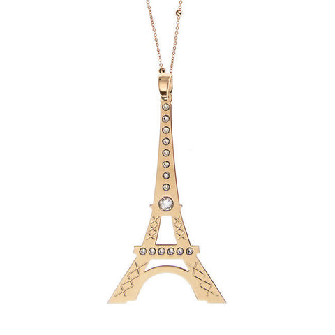 Related product : Collana placcata oro giallo con maxi pendente raffigurante la Tour Eiffel