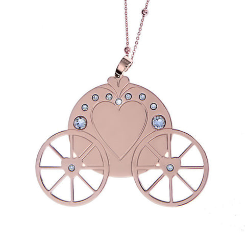 Related product : Collana placcata oro rosa con maxi pendente raffigurante una carrozza