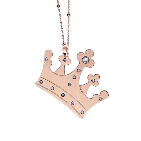Related product : Collana placcata oro rosa con maxi pendente a corona