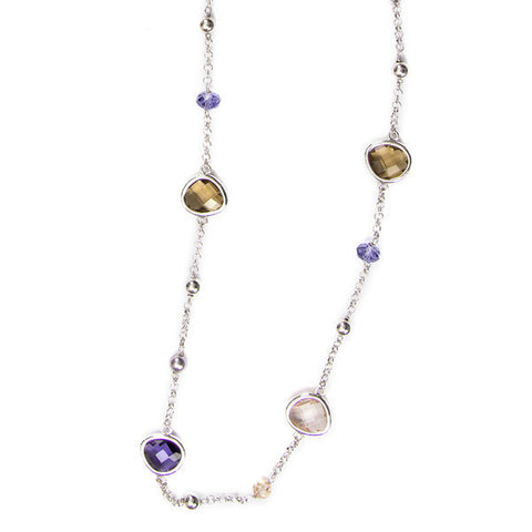 Related product : Collana lunga rodiata con cristalli briolette