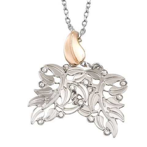 Related product : Collana bicolor con foglie pendenti e Swarovski