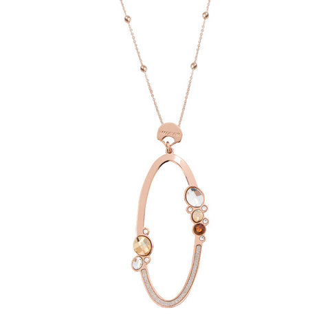 Related product : Collana rosata con pendente ovale e decoro di Swarovski