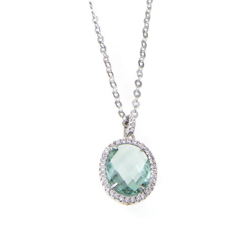 Related product : Collana lunga con cristalli briolette verde acqua e zirconi