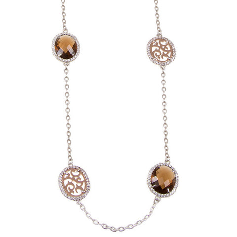 Related product : Collana lunga con cristalli briolette fumè e zirconi