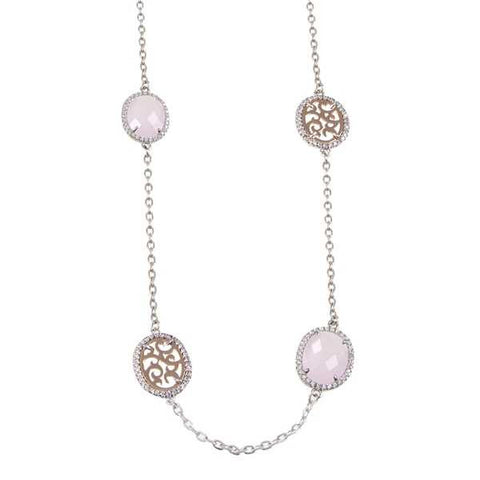 Related product : Collana lunga con cristalli briolette rosa e zirconi