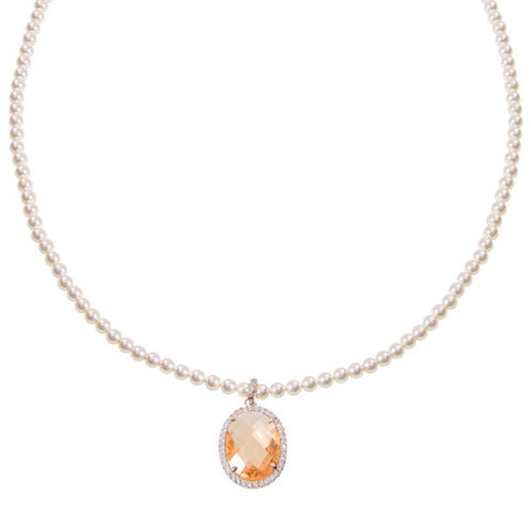 Related product : Collana di perle Swarovski con cristallo champagne e zirconi