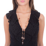Collana lunga con charms e cristallo navette copper finale