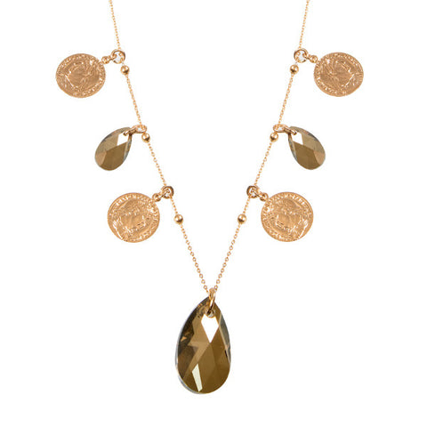 Related product : Collana lunga con charms e cristallo a goccia bronze shade finale