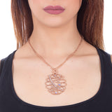 Collana rosata con pendente e crystal rock