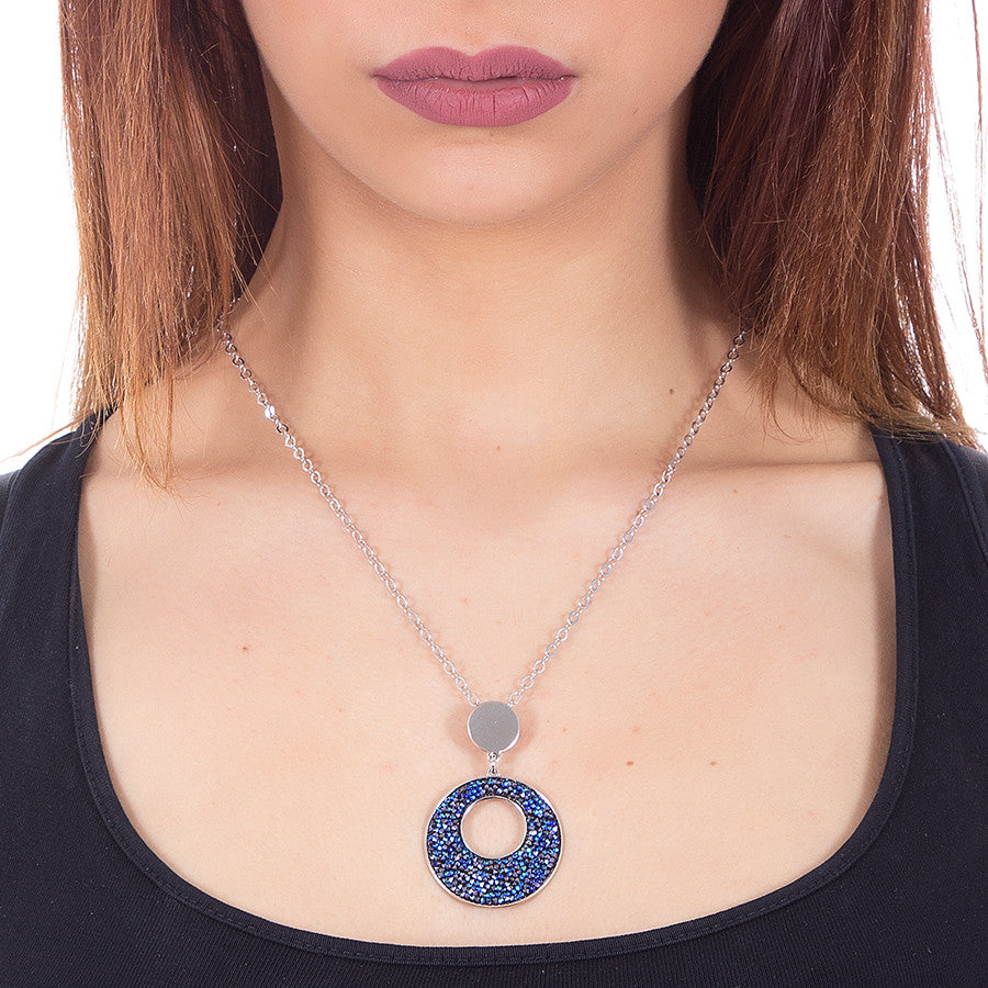 Collana con pendente in Swarovski crystal rock bermuda blu