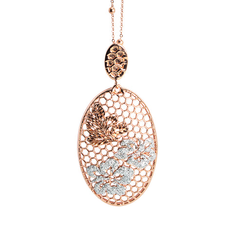 Related product : Collana rosata con decoro floreale e glitter silver
