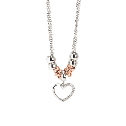 Related product : Collana rodiata con pendente a cuore e zirconi