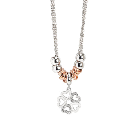 Related product : Collana rodiata con pendente a quadrifoglio e zirconi