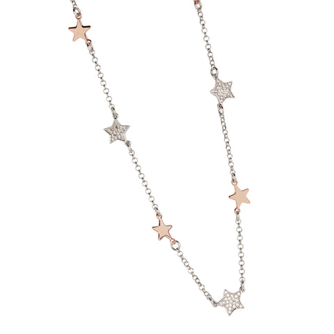 Related product : Collana bicolor con stelline passanti lisce e zirconate