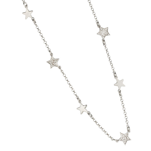 Related product : Collana con stelline passanti lisce e zirconate