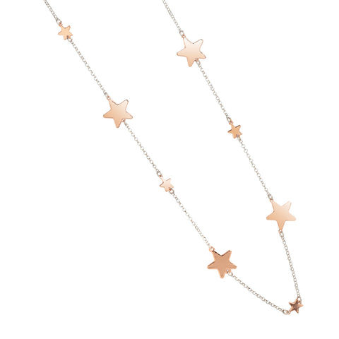 Related product : Collana lunga rosata con stelle lucide alternate a stelle passanti