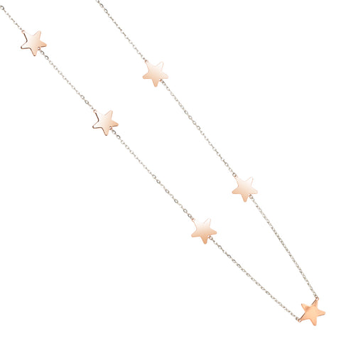 Related product : Collana lunga rosata diamantata con stelle