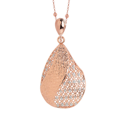 Related product : Collana placcata oro rosa con pendente in elettrofusione e glitter silver