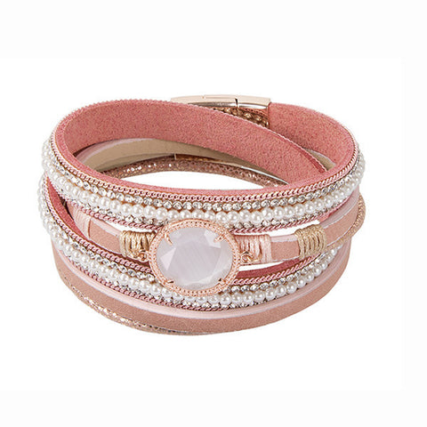Related product : Bracciale multifilo in similpelle color pesca