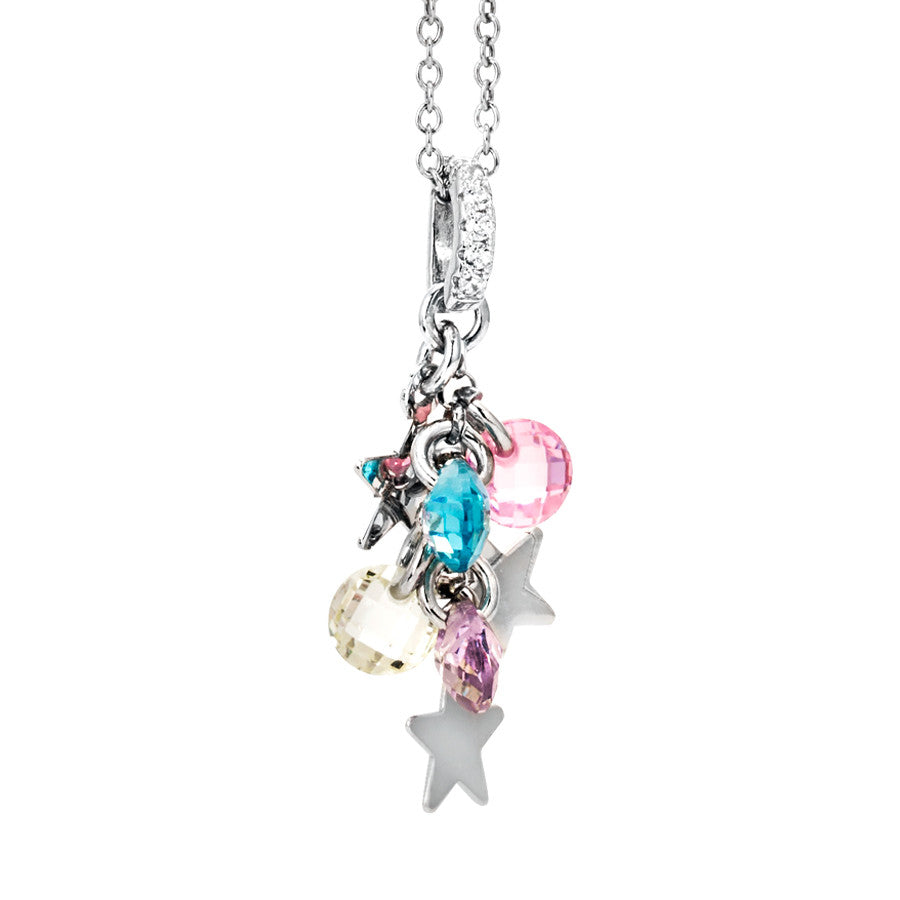 Collana in argento con charms e zirconi multi color