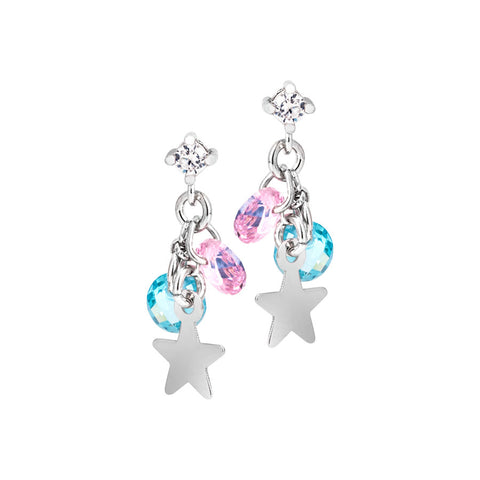 Orecchini in argento con charms e zirconi multicolor