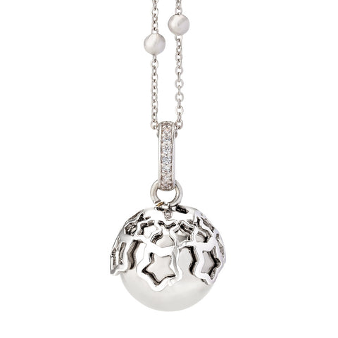 Related product : Collana chiama angeli rodiata con stelle traforate