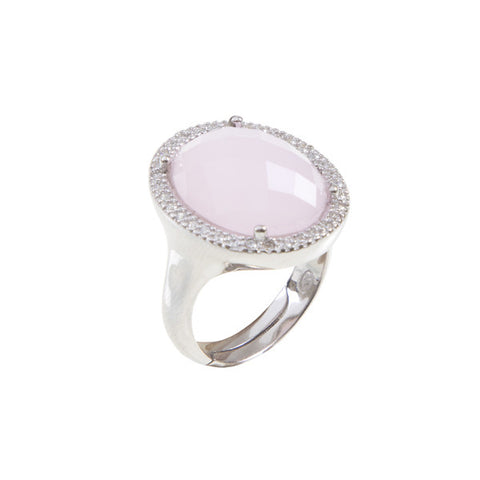Related product : Anello cocktail con cristallo briolette rosa e zirconi