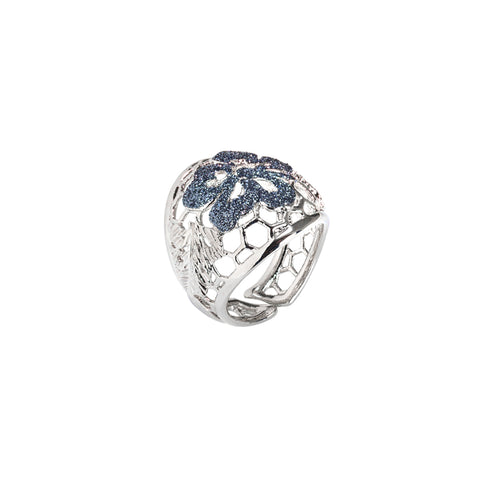 Related product : Anello con decoro floreale in glitter black