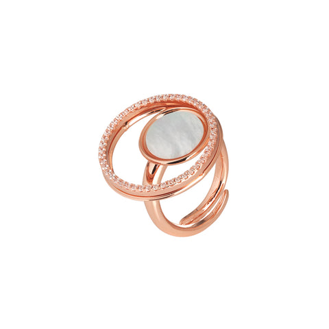 Related product : Anello rosato con madreperla e zirconi