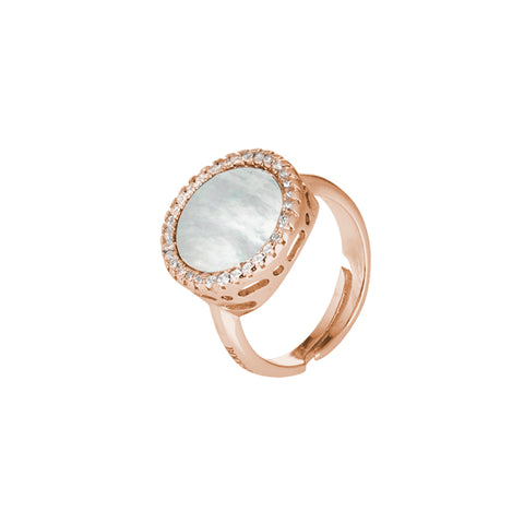 Related product : Anello rosato con madreperla centrale e zirconi laterali