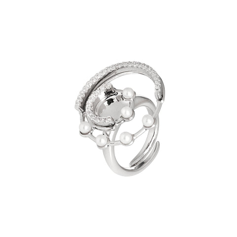 Related product : Anello con orbite in zirconi e perle Swarovski