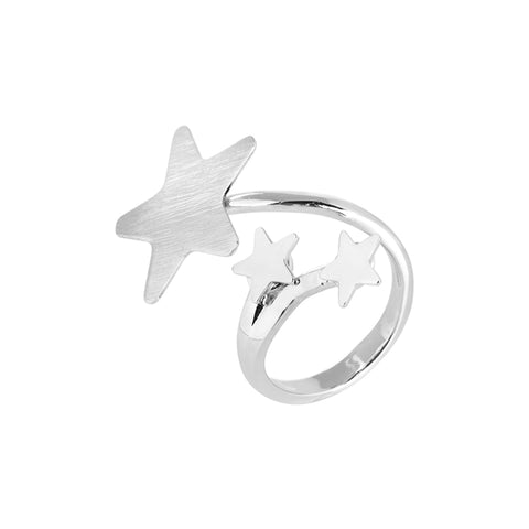 Related product : Anello contrariè rodiato con stelle