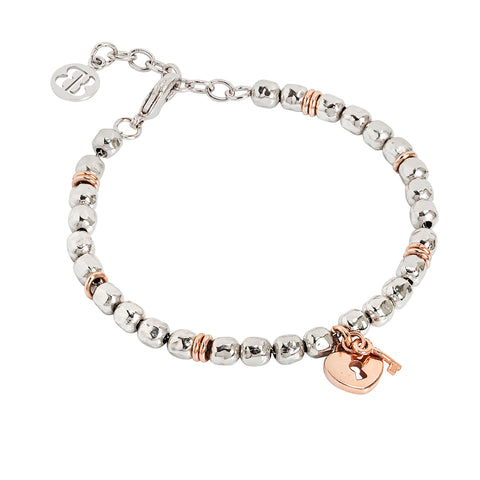 Related product : Bracciale beads con lucchetto rosato