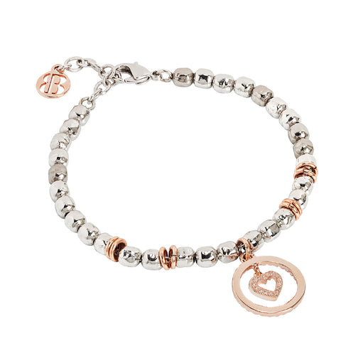 Related product : Bracciale beads con cuore rosato e zirconi