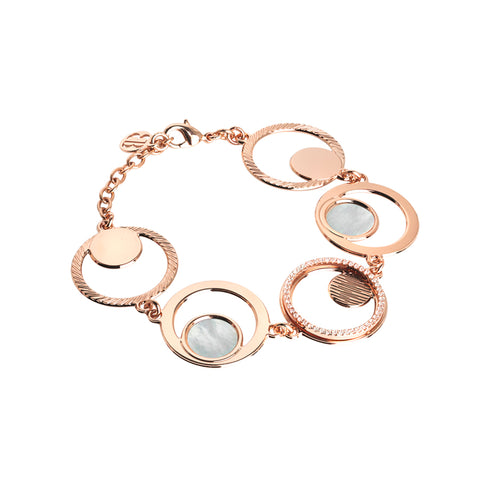 Related product : Bracciale rosato modulare con orbite di zirconi e madreperla