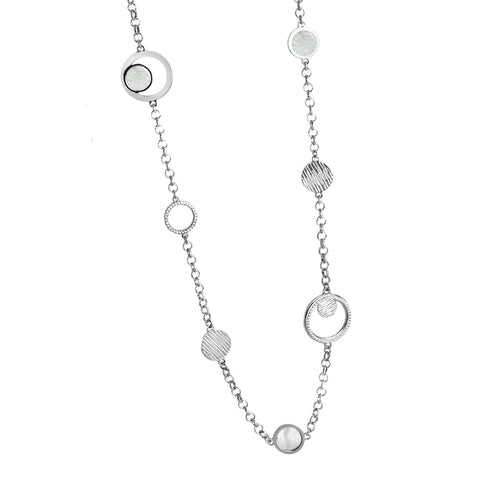 Related product : Collana lunga con orbite di zirconi e centrale in madreperla