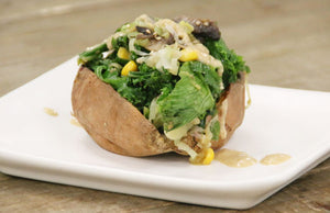 Kale, Mushroom & Sweetcorn Filled Baked Sweet Potato With Umami Tahini Dressing