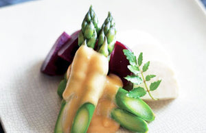 Beetroot, Asparagus & Firm Tofu with Su-Miso