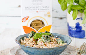 Gluten Free Brown Rice Pasta with Creamy Tofu Sauce