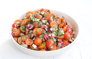 Tomatoes and Radish with Toasted Argan oil, Za'atar Parsley salad