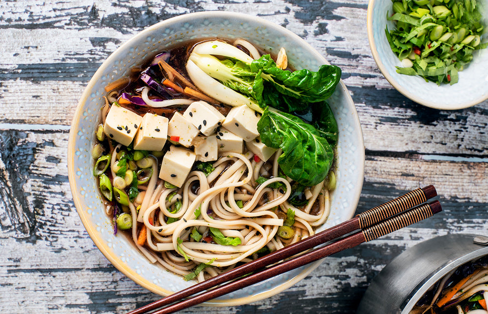 Miso & Ginger Udon Noodle Soup with Silken Tofu - Clearspring Ltd