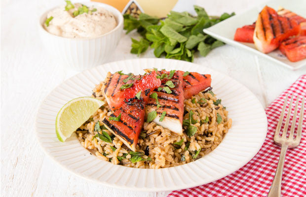 Mixed Rice, Griddled Watermelon & Mint Salad